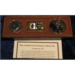1364. 24K Gold Overlay Kennedy Memorial Set with 1980 D