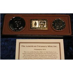 1365. 24K Gold Overlay Kennedy Memorial Set with 1980 D