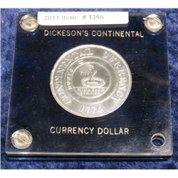 1366. 1776 Dickeson's Continental Currency Dollar. Brilliant Unc.