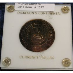 1377. 1776 Dickeson's Continental Currency Dollar. Brass. Brilliant Unc.