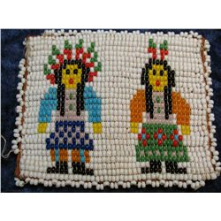 "1392. Beaded Indian Coin Pouch with Medal ""To Enslave"