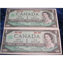 1399. (2) Series 1867-1967 Bank of Canada $1 Notes. CU.