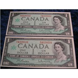1400. (2) Series 1867-1967 Bank of Canada $1 Notes. CU.