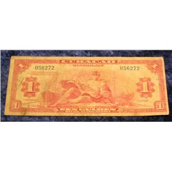 1402. 1942 Curacao One Gulden Bank note. VG.