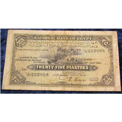 1405. July 2, 1941 National Bank of Egypt Twenty-Five Piastres.