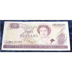 1411. Reserve Bank of New Zealand $2 Banknote. CU.