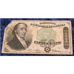 1412. July 24th, 1866 Fifty Cent Fractional Bank Note.