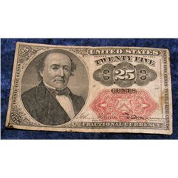 1413. Series of 1874 25c U.S. Fractional Currency. VG.