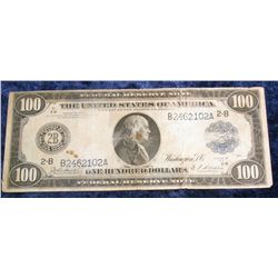 1415. Series 1914 $100 Federal Reserve Note. Signed Burke and Houston. VG.