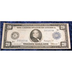 1416. Series 1914 $20 Federal Reserve Note. Minneapolis, Minn. Large size. Signed Burke and Mc Adoo.
