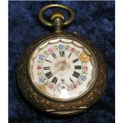 1431. .800 Fine Silver Highly engraved Pocket Watch with