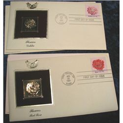 1447. (2) 1981 Flowers 22K Gold Stamped Covers.