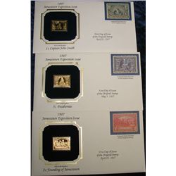 1448. (3) Jamestown Expo 22K Gold Stamped Covers.