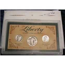 1457. Liberty Coin Collection. 2-Dimes and Quarter.