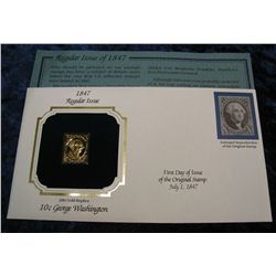 1468. 1847 10c Washington 22k Gold Stamped Cover.