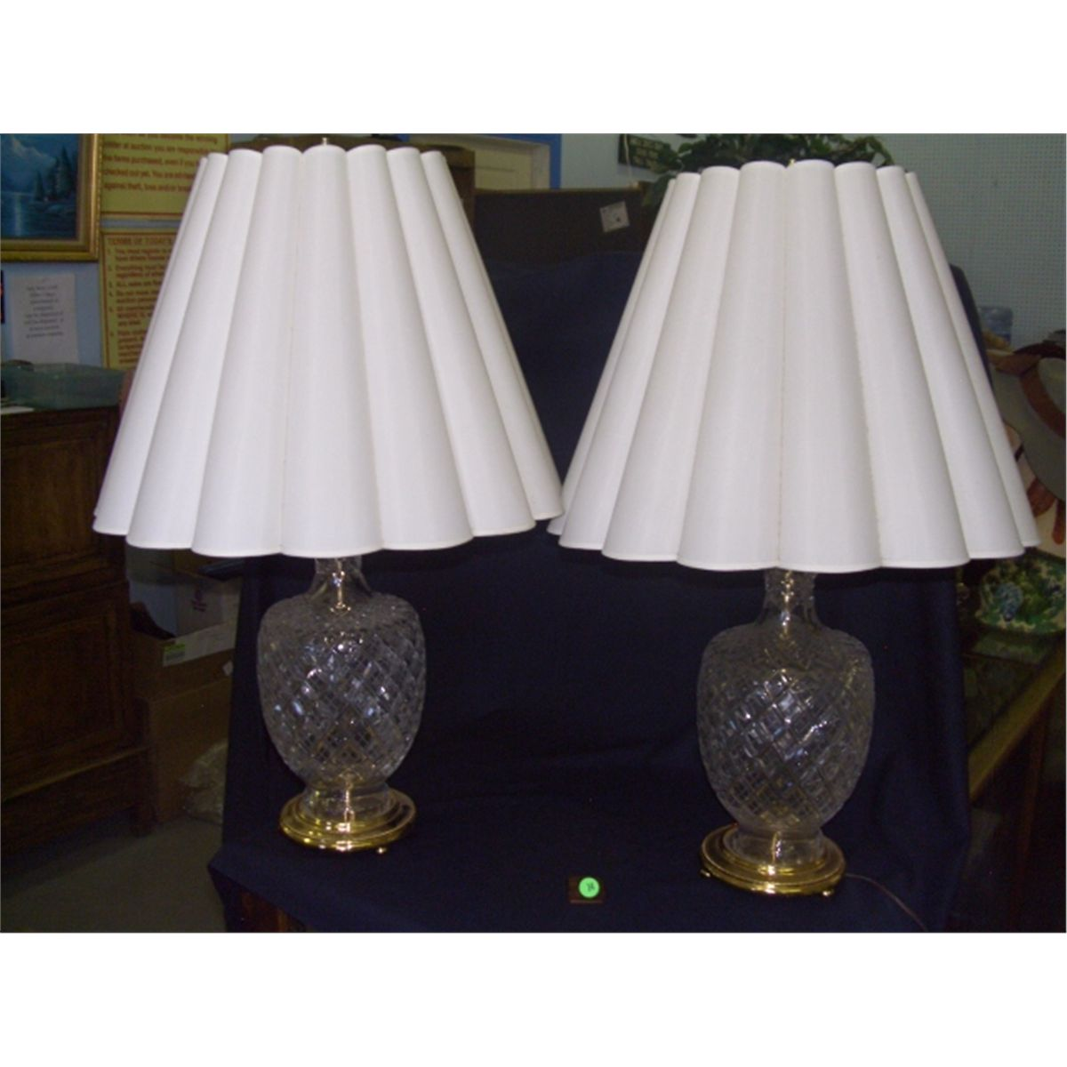 2 piece matching cut crystal glass table lamps waterford no marks 2 piece matching cut crystal glass table lamps waterford no marks found 29 aloadofball Image collections