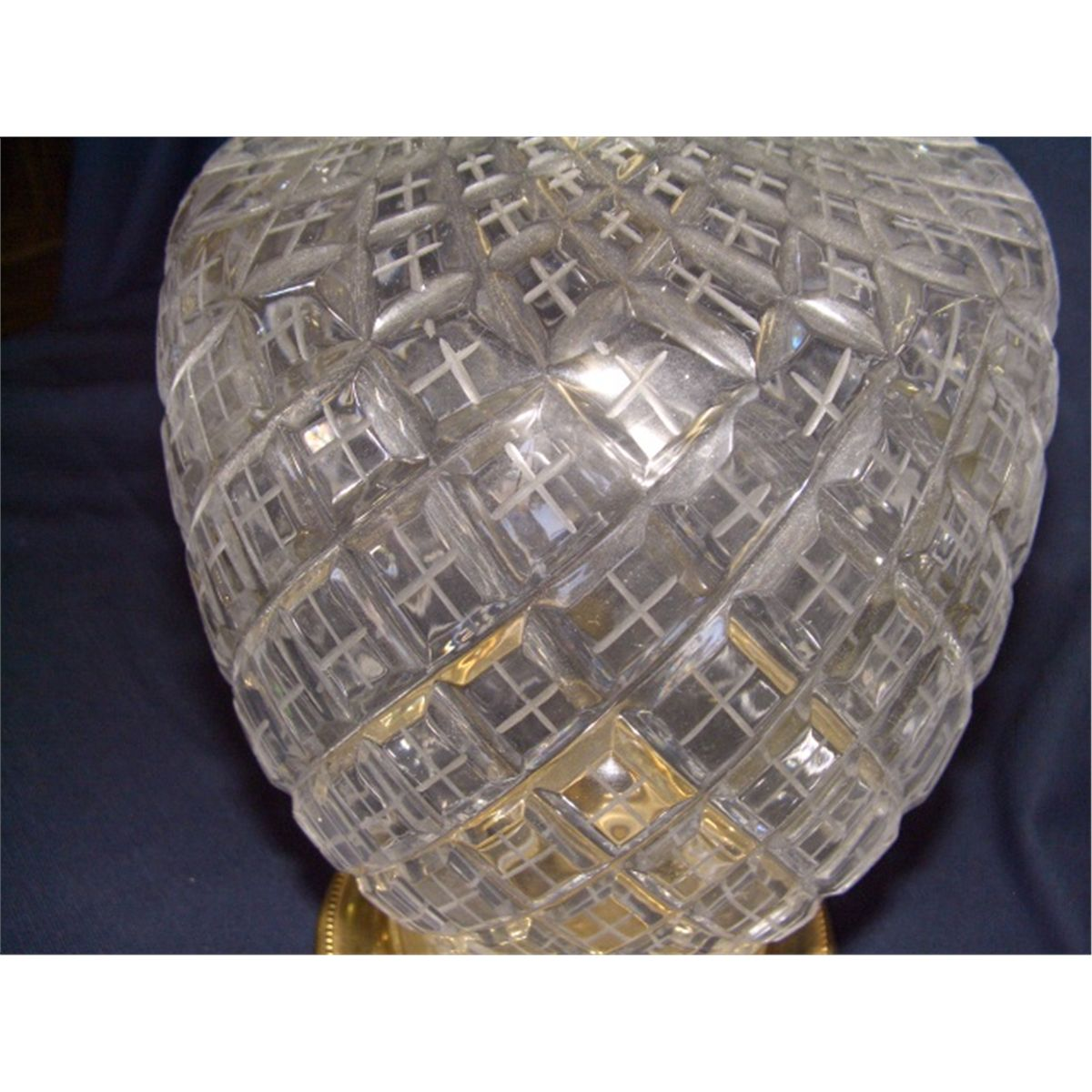 2 Piece Matching Cut Crystal Glass Table Lamps Waterford