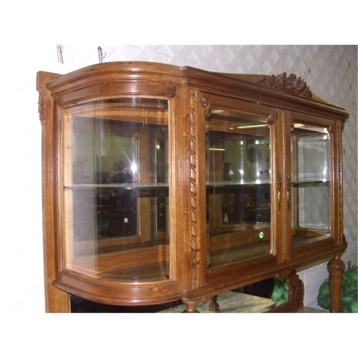 Antique French Oak Carved China Buffet With Marble Top (cracked 2 Pieces)  With Curved Glass Top SSR