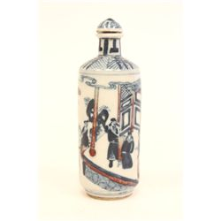 Fine copper red & blue porcelain snuff bottle