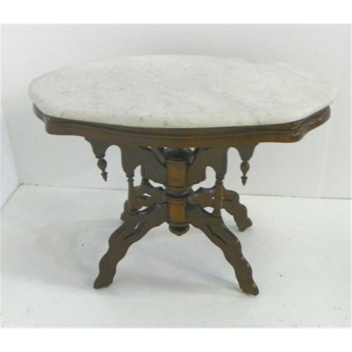 Victorian Marble Coffee Table: Marble Top Victorian Coffee Table & Oval Mirror