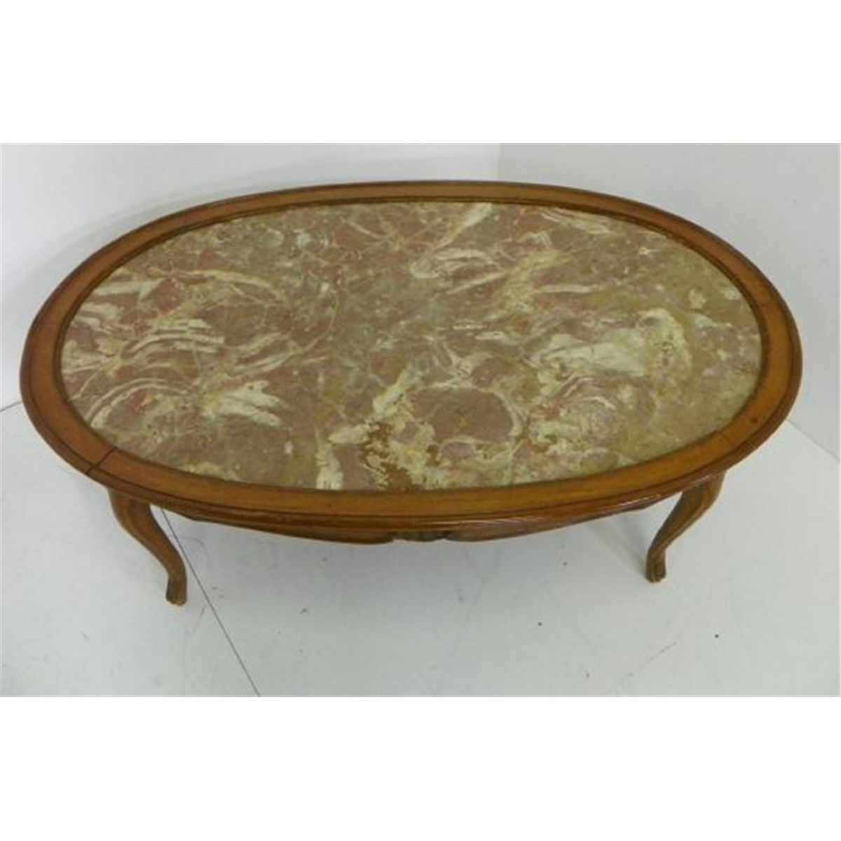 French Provincial Oval Coffee Table: Country French Marble Top Oval Coffee Table