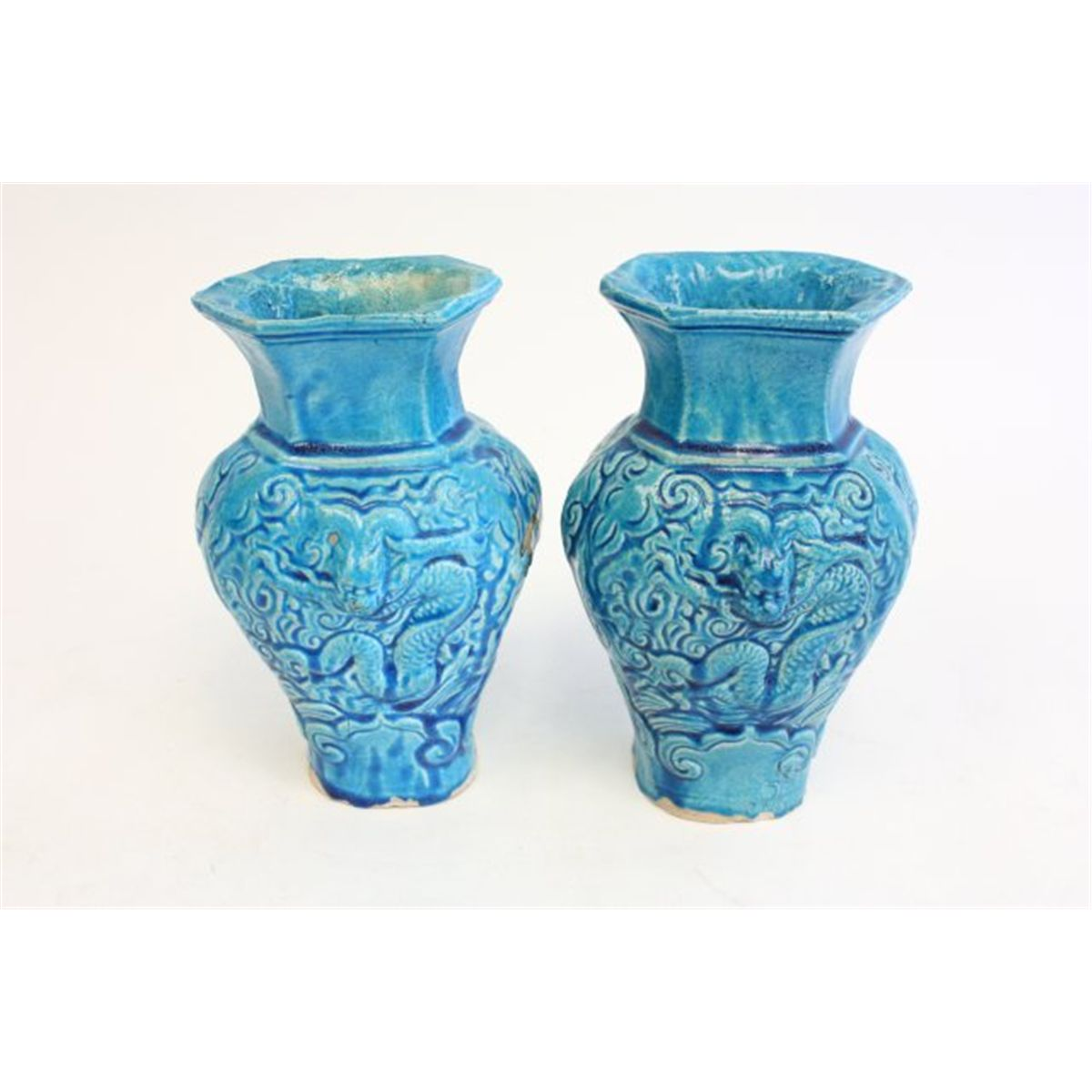 Pair Chinese Blue Pottery Vases