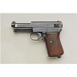 "Mauser Pocket semi-auto pistol, 7.65mm cal.,  3-1/2"" barrel, blue finish, checkered wood  grips with"