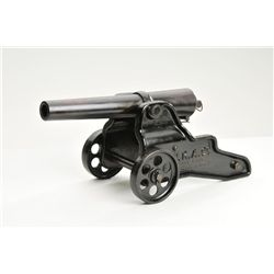 "Original Winchester salute cannon, 10 gauge,  12-1/2"" barrel, blue finish, mounted on a  cast iron W"