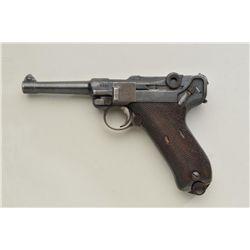 "German Luger by Erfurt semi-auto pistol, 9mm  cal., 4"" barrel, military blue finish,  checkered wood"