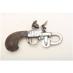 Napoleonic era flintlock powder tester, made  in the design of a small pistol, with nicely  checkere