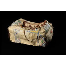 Buffalo Bill's Wild West Show trunk made from  par fleshe (Indian painted hide), with steer  hide ac