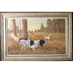 Original oil painting on board showing  hunting dogs on point with hunter in  background. Very finel