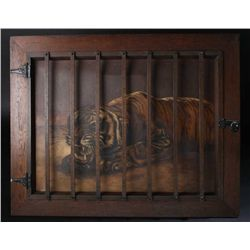 Original oil painting on canvas showing tiger  in frame simulating cage, signed lower right  A. Brau