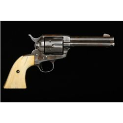 "Colt Single Action Army revolver .45 caliber,  4-3/4"" barrel, brown patina finish, ivory  grips, bac"