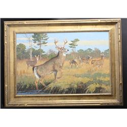 Original oil painting on board showing young  buck with doe in background, signed lower  right Kuhn.
