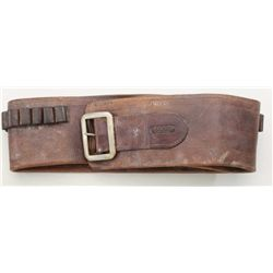 "Cartridge belt marked ""R. A. Meanea,  Cheyenne"". Belt measures nearly 4"" in width  and it is for lar"