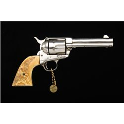 "Colt Single Action Army revolver .41 caliber,  4-3/4"" barrel, renickel finish,  double-carved ivory"