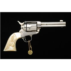 "Colt Single Action Army revolver, .44-40  caliber, 4-3/4"" barrel, renickel plated, old  genuine to t"