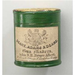Cap tin of large size, Eley caps with label  Dean Adams &amp; Dean, revolver era. 1-7/8 in  height. S