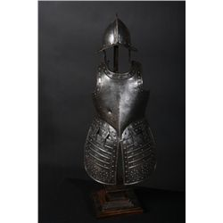 "Miniature display of English pikeman's armor  measuring 24-1/2"" from base to tip of helmet,  nicely"