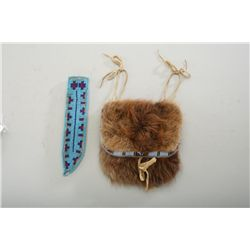 Lot of two native American Indian beaded  collectibles: one knife scabbard, 1900 to  1940, turquoise