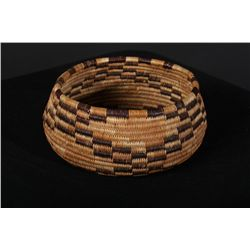 "Nicely woven Pomo basket measuring approx.  5-1/2"" across center, 2-1/4"" deep. Good to  very good co"