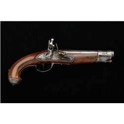 "European flintlock military pistol, .69  caliber smoothbore, iron mounts, lock shows  ""AN"" intertwin"