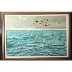 Original oil painting on board showing ducks  over sea with game blind in distance,  probably Puget