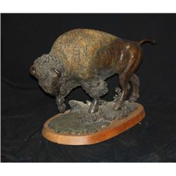 Original bronze of American Buffalo entitled  Prarie Spring by Douglas Van Howd, #1/50.  Measures 21