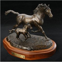"Original bronze entitled ""Spring Break"" by  noted artist Carl Wagner showing mare with  young colt."
