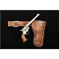"Early Colt Single Action Army revolver, .45  cal, 7-1/2"" barrel, nickel finish, varnished  wood grip"