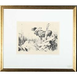 Alaskan Wildlife Series etching of bull  moose, hand signed lower right C. Rungius and  inscribed lo