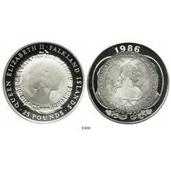 Argentina, silver medal, made from a Falkland Islands 25 pounds, Elizabeth II, 1986, overstruck in c