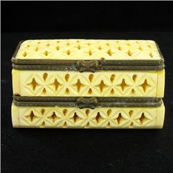 Chinese Handcarved Bone Double Gem Box (CLB-857)